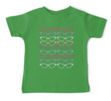 Cat Eye Glasses Pattern - Retro Waves of Color Baby Tee