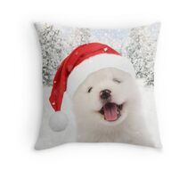 Samoyed puppy wearing Christmas hat Throw Pillow