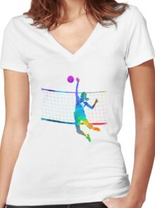 Woman volleyball player in watercolor Women's Fitted V-Neck T-Shirt