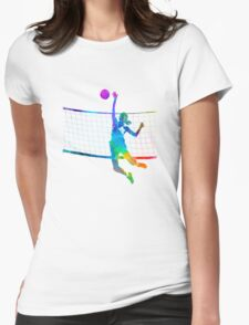 Woman volleyball player in watercolor Womens Fitted T-Shirt