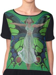Art Nouveau Vintage Flapper With Butterfly Wings Chiffon Top