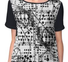 analog synthesizer modular system - black and white illustration Chiffon Top