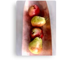 Four Pears on Copper Canvas Print