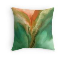Abstract Bird Art Designer Duvet Cover - Green/Peach Throw Pillow