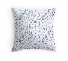 Indigo blue watercolor herbal pattern Throw Pillow