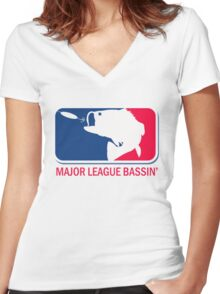 Major League Bass funny fishing Women's Fitted V-Neck T-Shirt