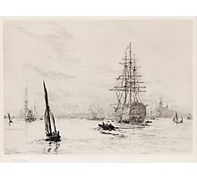 WILLIAM LIONEL WYLLIE RA,  HMS VICTORY IN PORTSMOUTH HARBOUR,  Photographic Print