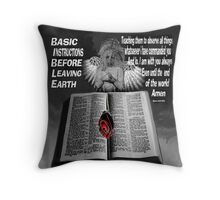 BASIC INSTRUCTIONS BEFORE LEAVING EARTH..CHRISTIAN PILLOW & TOTE BAG Throw Pillow