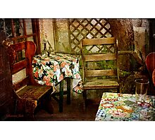 Crooked Chair at the Corner Table Photographic Print