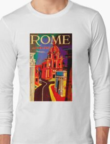 """TWA AIRLINES"" Vintage Fly to Rome Advertising Print Long Sleeve T-Shirt"