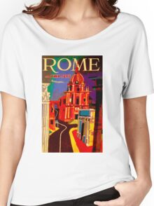 """TWA AIRLINES"" Vintage Fly to Rome Advertising Print Women's Relaxed Fit T-Shirt"