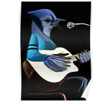 **¨*•MY BLUE JAY PLAYING GUITAR AND SINGING ME A SONG PICTURE /CARD>> ALSO ANIMATED HIM **¨*• Poster