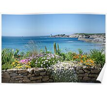 Flowered balcony over Le Conquet bay Poster
