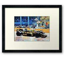 1986 Spanish GP F1 Senna vs Mansell  Framed Print