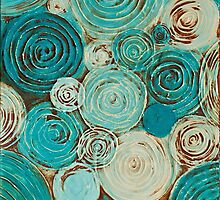 Hypnotic blue circles by Janine Whitling