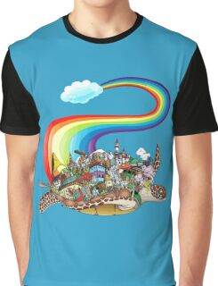 Flying Rainbow Turtle Graphic T-Shirt