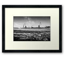 Gothenburg, frozen sea, cranes, shipyard Framed Print