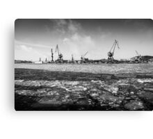 Gothenburg, frozen sea, cranes, shipyard Canvas Print