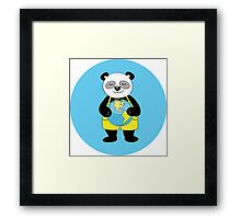 panda kept globe of the planet earth Framed Print