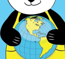 panda kept globe of the planet earth Sticker
