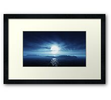 3D Landscape : Lost Islands - Moon Path Framed Print