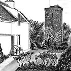 """The """"Hie Gait"""" and """"St Serf's"""" Tower in Dysart, Fife on the East Coast of Scotland [ Digital Architecture Illustration] by Grant Wilson"""