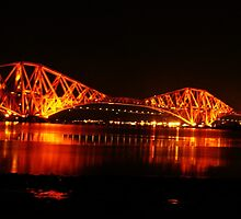 Forth Rail Bridge at Night by Lesleymc77