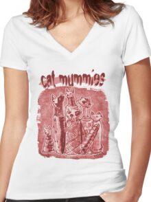 cat mummies Women's Fitted V-Neck T-Shirt