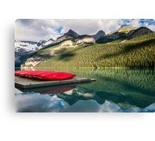 Lake Louise Canoes Canvas Print