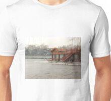 Frozen lake boat Unisex T-Shirt