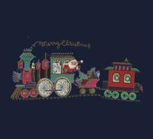 Cute Kawaii Merry Christmas Toy Train Santa is coming Kids Tee