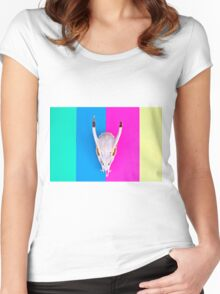 Deer Skull on Striped Background Women's Fitted Scoop T-Shirt