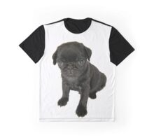 Cute sad looking black Pug puppy Graphic T-Shirt