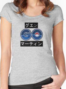 Japanese Pokemon GO BLACK & WHITE Women's Fitted Scoop T-Shirt