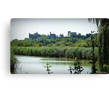 Arundel Castle from the Black Rabbit at Houghton. Canvas Print