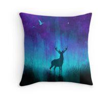 Lunar Marsh: Neon Deer Throw Pillow