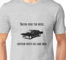 """Driver picks the music"" - Dean Winchester Quote Print Unisex T-Shirt"