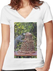 Extermi-Nut! Women's Fitted V-Neck T-Shirt