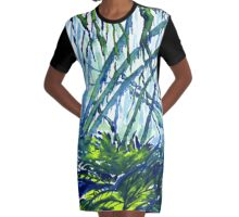 Watercolour of Forest with Hanging Moss Graphic T-Shirt Dress