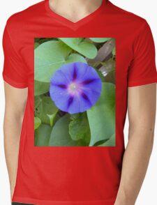 Blue Morning Glory Mens V-Neck T-Shirt