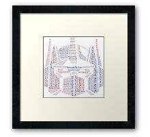 Optimus Prime Quote Word Art Framed Print