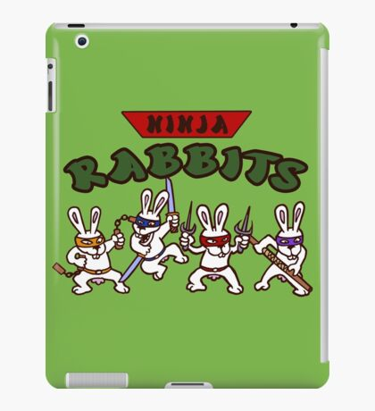 ninja rabbits for a geek nerd fun guy who like tmnt turtle iPad Case/Skin