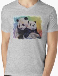 Panda Hugs Mens V-Neck T-Shirt