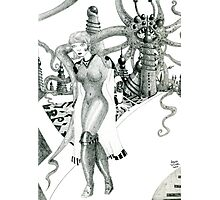 Futuristic Woman [Pencil version] Fantasy Figure Illustration Photographic Print