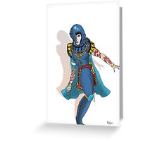 Blue Science fiction Warrior  [Pen Drawn Fantasy Figure Illustration] Greeting Card