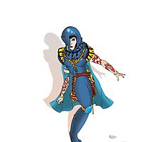 Blue Science fiction Warrior  [Pen Drawn Fantasy Figure Illustration] Photographic Print