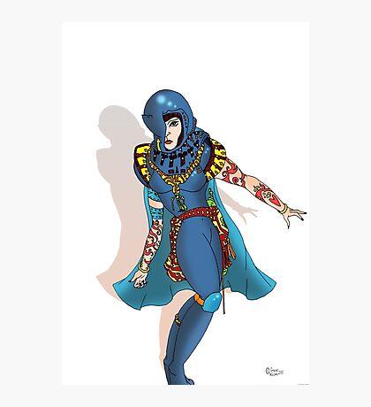 Blue Science fiction Warrior  [Pen Drawn Fantasy Figure Illustration] Photographic Print