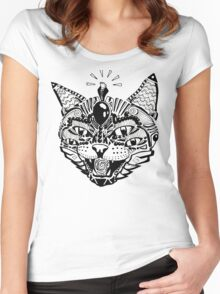 'Psychedelic Cat' Women's Fitted Scoop T-Shirt