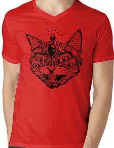 'Psychedelic Cat' Mens V-Neck T-Shirt