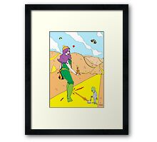 Desert Saucers  [Pen Drawn Fantasy Figure Illustration] Framed Print